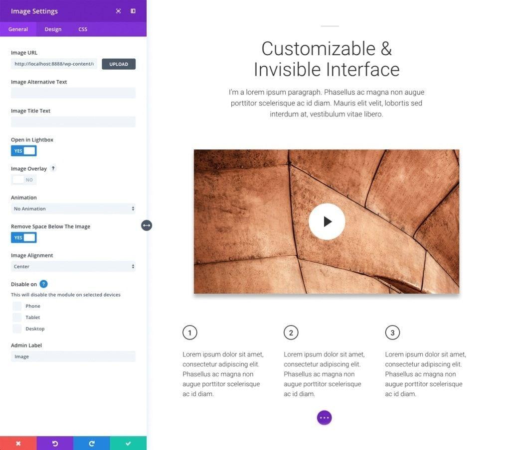 interface imagen divi